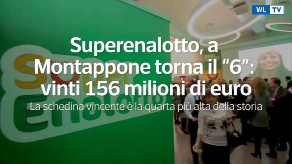 """Superenalotto, a Montappone torna il """"6"""": vinti 156 milioni di euro"""