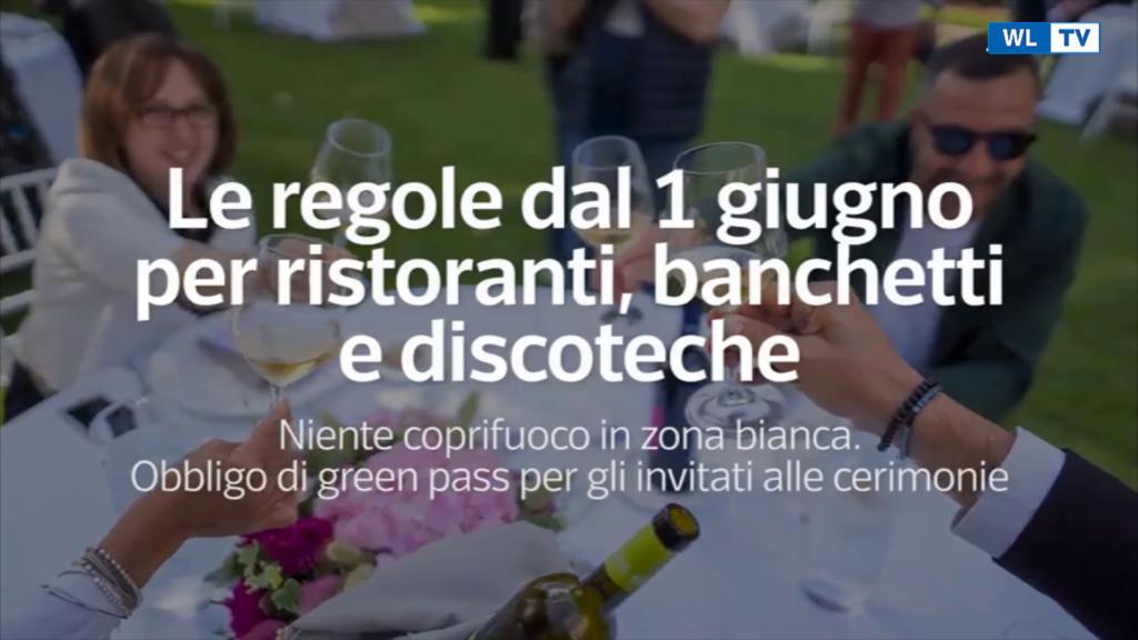 Le regole dal 1 giugno per ristoranti, banchetti e discoteche – Niente coprifuoco in zona bianca -Video